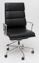 99851111 Fotel biurowy CH inspirowany EA219 skóra, chrom (kolor: czarny)