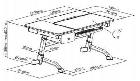 Biurkosa Regulowane biurko dla dziecka PINK DRAWER 11976336