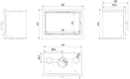 KONS Kaseta kominkowa 12kW Arke 80 (szyba prosta) - spełnia anty-smogowy EkoProjekt 30065513