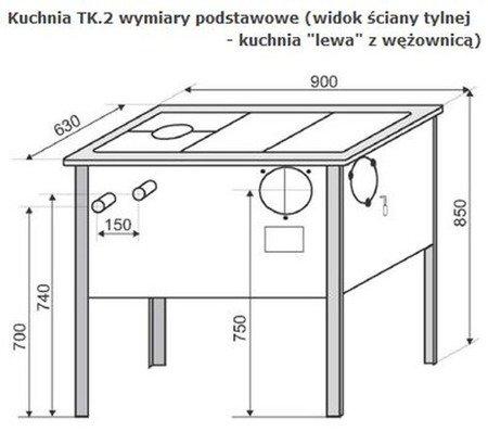 Kuchnia, angielka 6,5kW TK2-610 zwykła z termometrem, bez płaszcza wodnego (kolor: kremowy) - spełnia anty-smogowy EkoProjekt 22774569
