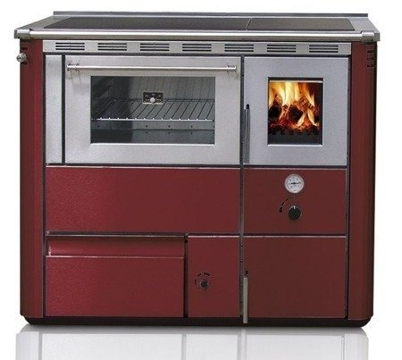 Kuchnia wolnostojąca, angielka na drewno 25kW z płaszczem wodnym i piekarnikiem (wylot spalin: górny, kolor: czerwony) 27776221