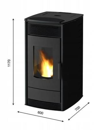 Piec kominek wolnostojący na pellet 12kW z płaszczem wodnym (kolor: czarny) - spełnia anty-smogowy EkoProjekt 00076807