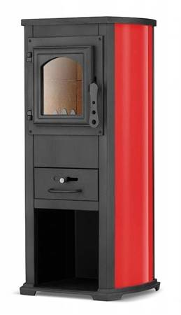 Piec wolnostojący 6,5-9kW z płytą grzewczą i fajerką na drewno (kolor: beżowy) 99676613