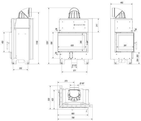 Wkład kominkowy 10kW MBM BS (lewa boczna szyba bez szprosa) - spełnia anty-smogowy EkoProjekt 30046775