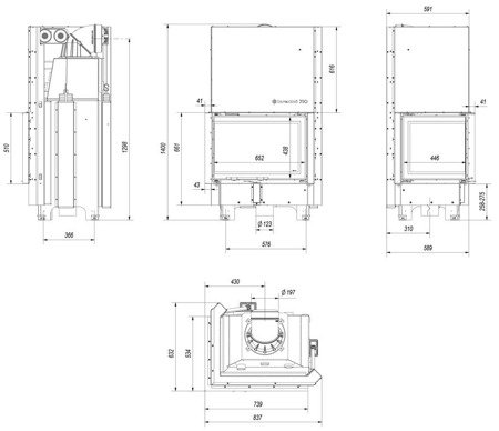 Wkład kominkowy 13kW MBZ 13 BS Gilotyna (lewa boczna szyba bez szprosa, drzwi podnoszone) - spełnia anty-smogowy EkoProjekt 30053247