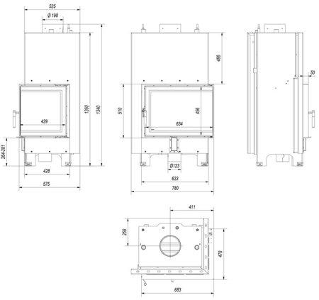 Wkład kominkowy 13kW MBZ PW BS z płaszczem wodnym, wężownicą (prawa boczna szyba bez szprosa) - spełnia anty-smogowy EkoProjekt 30065765